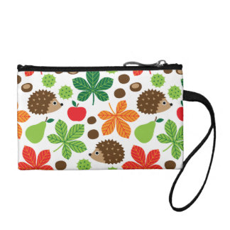 Chestnuts & Hedgehog seamless pattern (ver.1) Coin Purse