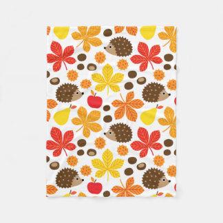 Chestnuts & Hedgehog seamless pattern (ver.2) Fleece Blanket