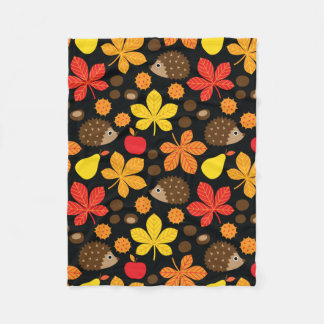 Chestnuts & Hedgehog seamless pattern (ver.3) Fleece Blanket