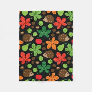 Chestnuts & Hedgehog seamless pattern (ver.4) Fleece Blanket