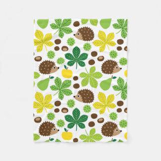 Chestnuts & Hedgehog seamless pattern (ver.5) Fleece Blanket