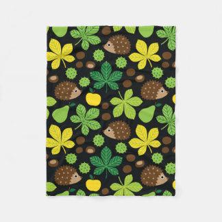 Chestnuts & Hedgehog seamless pattern (ver.6) Fleece Blanket