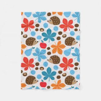 Chestnuts & Hedgehog seamless pattern (ver.7) Fleece Blanket