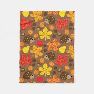 Chestnuts & Hedgehog seamless pattern (ver.8) Fleece Blanket