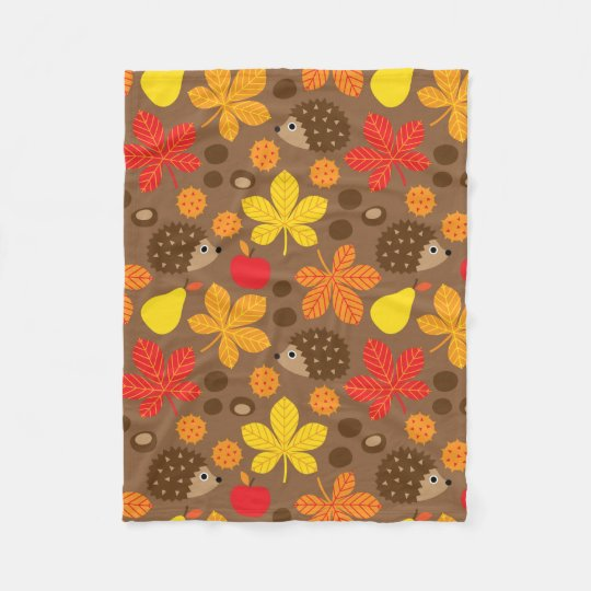 Chestnuts & Hedgehog seamless pattern (ver.8) Fleece Blanket