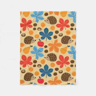 Chestnuts & Hedgehog seamless pattern (ver.9) Fleece Blanket