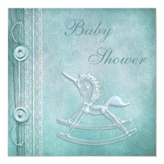 Cheval de basculage de licorne et baby shower de carton d'invitation  13,33 cm
