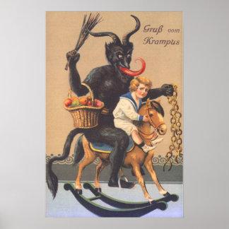 Cheval de bois d'équitation de Krampus avec le Poster