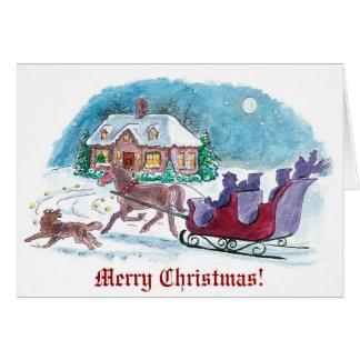 Cheval démodé et Noël de Sleigh Cartes De Vœux