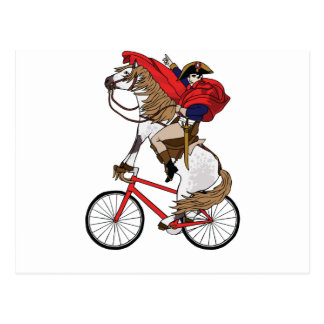 Cheval d'équitation de napoléon qui monte un vélo carte postale