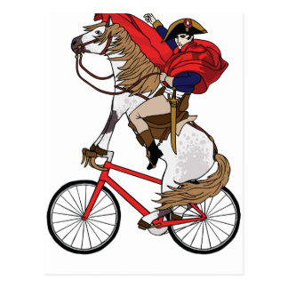 Cheval d'équitation de napoléon qui monte un vélo cartes postales