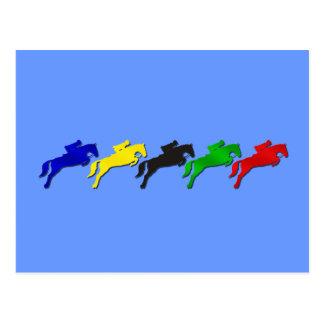 Cheval sautant équestre de dressage et cartes postales
