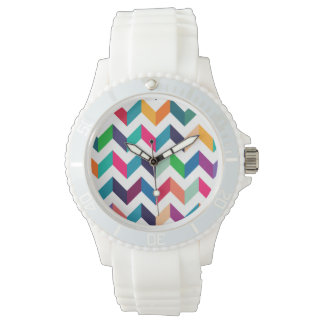 Cheveron Pattern Wild Colors Wrist Watches