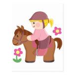 Cheveux blonds d'équitation, cheval brun cartes postales