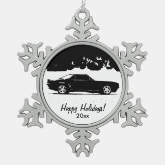 Chevrolet Camaro Rolling Shot Pewter Snowflake Ornament