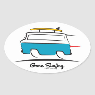Chevrolet Corvair Greenbrier Gone Surfing Oval Sticker