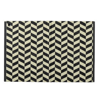 CHEVRON1 BLACK MARBLE & BEIGE LINEN COVER FOR iPad AIR