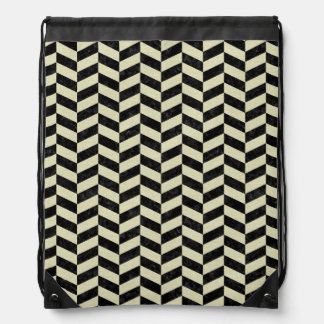 CHEVRON1 BLACK MARBLE & BEIGE LINEN DRAWSTRING BAG