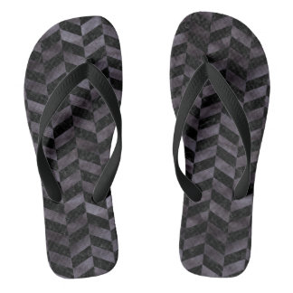 CHEVRON1 BLACK MARBLE & BLACK WATERCOLOR FLIP FLOPS
