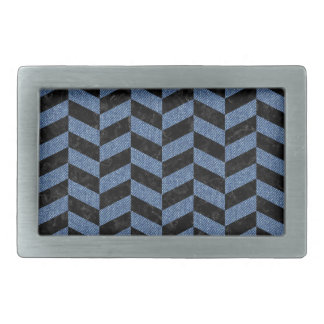 CHEVRON1 BLACK MARBLE & BLUE DENIM BELT BUCKLES