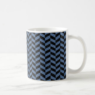CHEVRON1 BLACK MARBLE & BLUE DENIM COFFEE MUG
