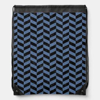 CHEVRON1 BLACK MARBLE & BLUE DENIM DRAWSTRING BAG
