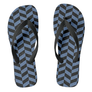 CHEVRON1 BLACK MARBLE & BLUE DENIM FLIP FLOPS