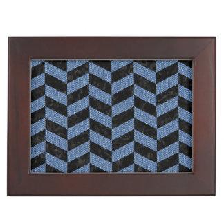CHEVRON1 BLACK MARBLE & BLUE DENIM KEEPSAKE BOX