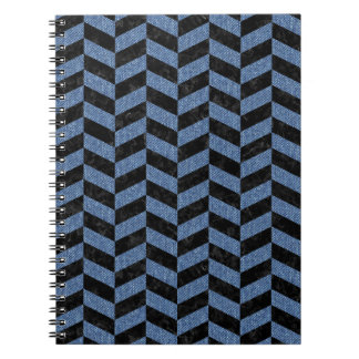 CHEVRON1 BLACK MARBLE & BLUE DENIM NOTEBOOK