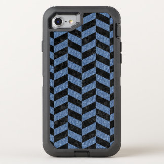 CHEVRON1 BLACK MARBLE & BLUE DENIM OtterBox DEFENDER iPhone 8/7 CASE