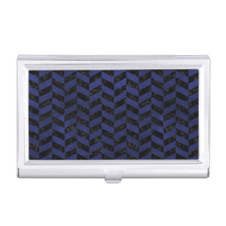 CHEVRON1 BLACK MARBLE & BLUE LEATHER BUSINESS CARD HOLDER