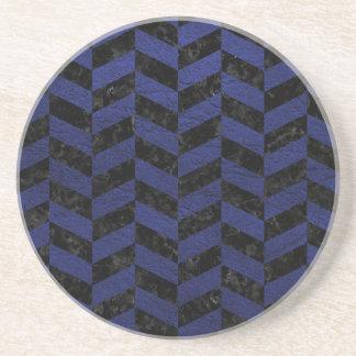 CHEVRON1 BLACK MARBLE & BLUE LEATHER COASTER