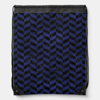 CHEVRON1 BLACK MARBLE & BLUE LEATHER DRAWSTRING BAG