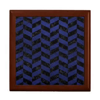 CHEVRON1 BLACK MARBLE & BLUE LEATHER GIFT BOX
