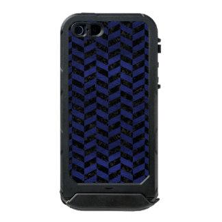 CHEVRON1 BLACK MARBLE & BLUE LEATHER INCIPIO ATLAS ID™ iPhone 5 CASE