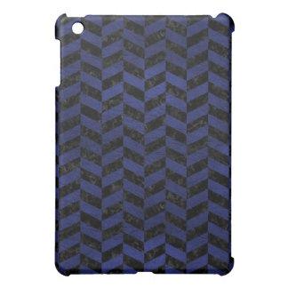 CHEVRON1 BLACK MARBLE & BLUE LEATHER iPad MINI CASE
