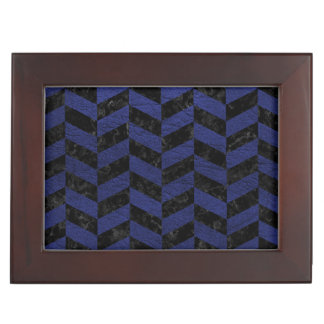 CHEVRON1 BLACK MARBLE & BLUE LEATHER KEEPSAKE BOX
