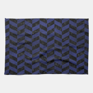 CHEVRON1 BLACK MARBLE & BLUE LEATHER KITCHEN TOWEL
