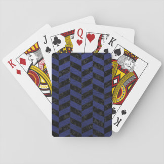 CHEVRON1 BLACK MARBLE & BLUE LEATHER PLAYING CARDS