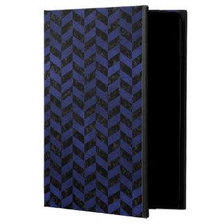 CHEVRON1 BLACK MARBLE & BLUE LEATHER POWIS iPad AIR 2 CASE