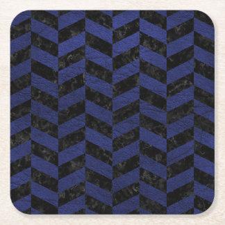 CHEVRON1 BLACK MARBLE & BLUE LEATHER SQUARE PAPER COASTER