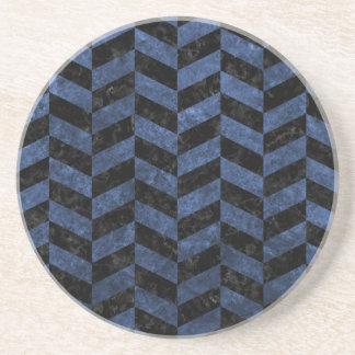 CHEVRON1 BLACK MARBLE & BLUE STONE COASTER