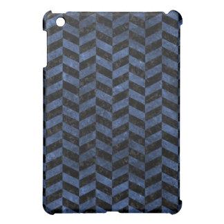 CHEVRON1 BLACK MARBLE & BLUE STONE COVER FOR THE iPad MINI