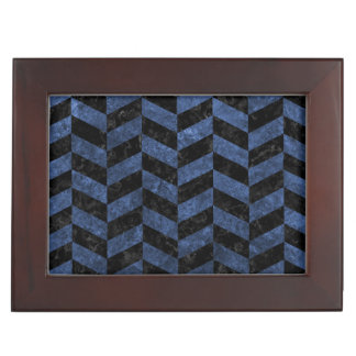 CHEVRON1 BLACK MARBLE & BLUE STONE KEEPSAKE BOX