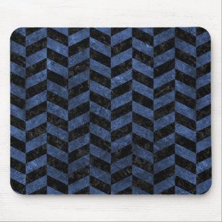 CHEVRON1 BLACK MARBLE & BLUE STONE MOUSE PAD