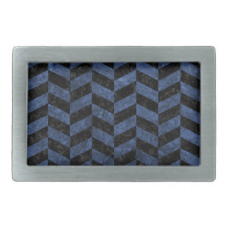 CHEVRON1 BLACK MARBLE & BLUE STONE RECTANGULAR BELT BUCKLES