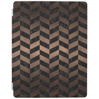 CHEVRON1 BLACK MARBLE & BRONZE METAL iPad COVER