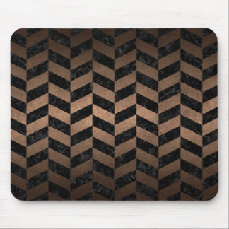 CHEVRON1 BLACK MARBLE & BRONZE METAL MOUSE PAD