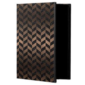 CHEVRON1 BLACK MARBLE & BRONZE METAL POWIS iPad AIR 2 CASE