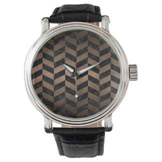 CHEVRON1 BLACK MARBLE & BRONZE METAL WATCH